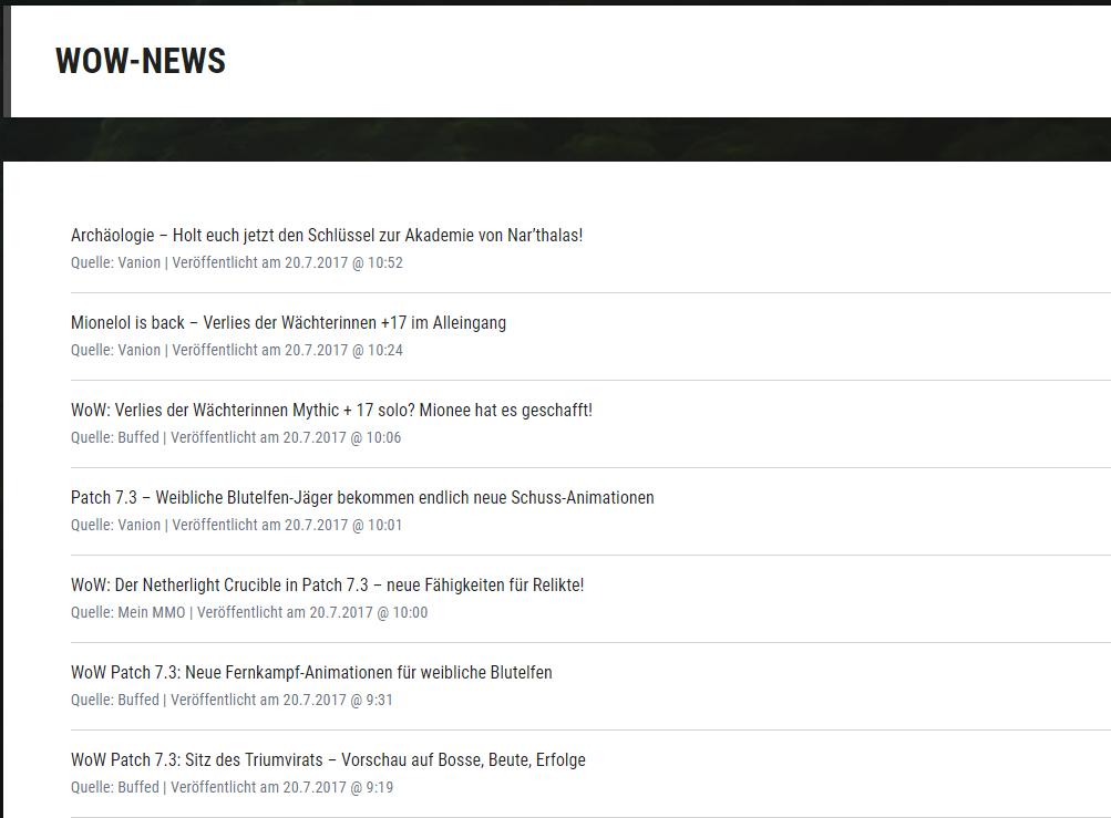 WoW-Newsfeed eingebunden